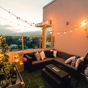 Outdoor string lights for balcony