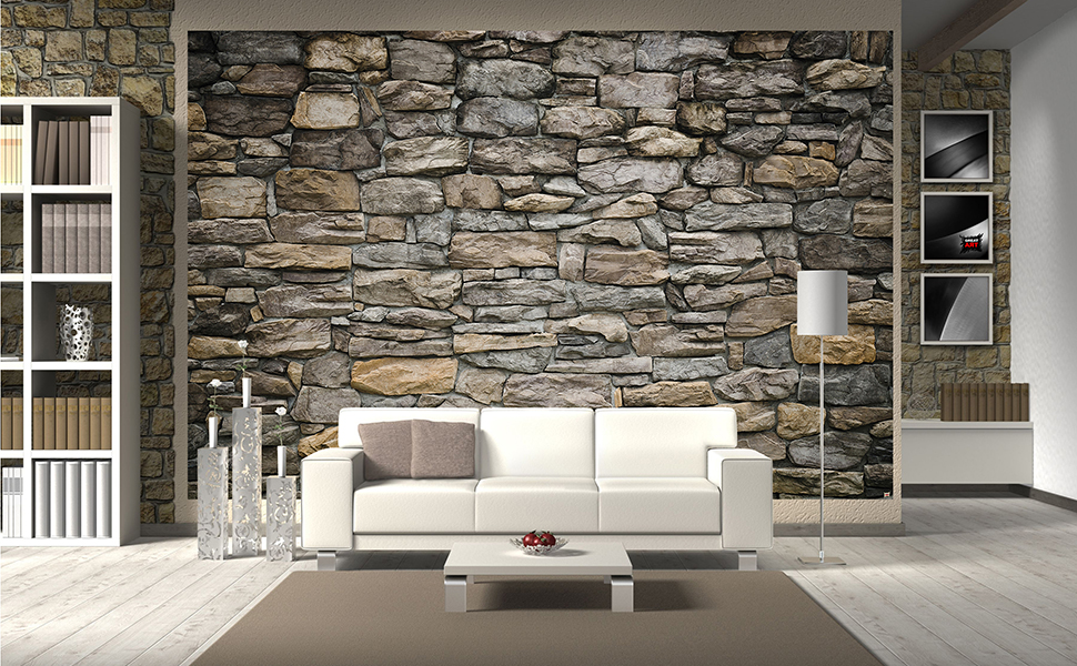 Wall Mural – Wallpaper Grey Stonewall – Picture Decoration Wall Cladding  Stone Rock Optic Tapestry Stone Pattern 1000 Stones Wallpaper Stone Optic  ...