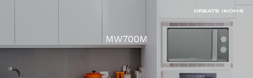 IKOHS Microondas MW700M Espejo - Microondas, 700W,Capacidad de 20L, 6 Niveles de Potencia, Temporizador hasta 30 minutos, 33.5x45.0x25.0 cm