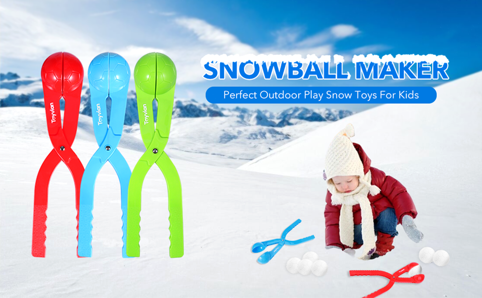 Perfect Winter Gift for Children Winter Outdoor Snowball Fight Games and Snowball Fun for Kids and Toddlers 5 Pack Kids Small Snowman Maker Kit iBaseToy Snowball Maker Toys