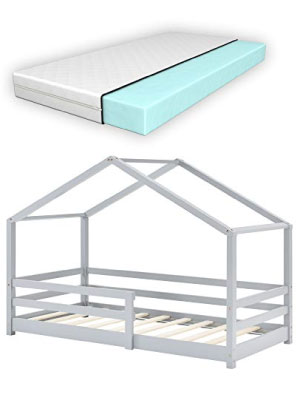 Lit Cabane Enfant avec Protection Anti-Chute Knätten 80x160cm gris clair pin forme maison matelas