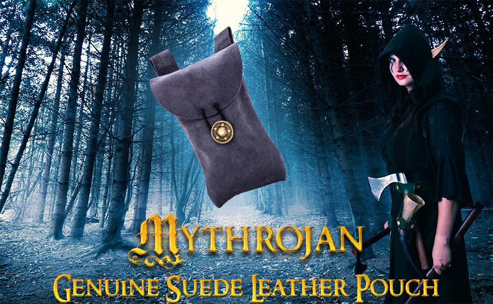 Mythrojan Genuine suede leather pouch bag SCA LARP Reenactment ELF Drow Dark elf knight medieval