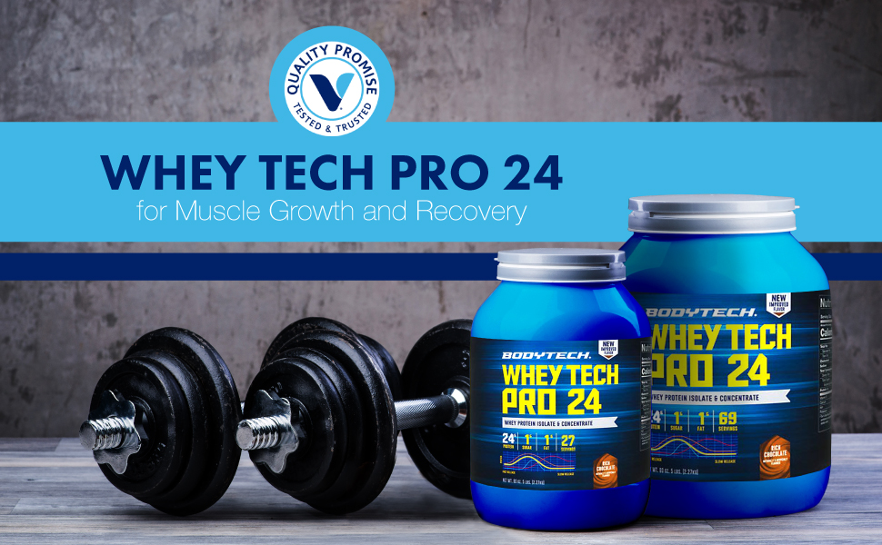 BodyTech Whey Tech Pro 24 Protein Powder with BCAA's to Fuel Muscle Growth Recovery After Workouts
