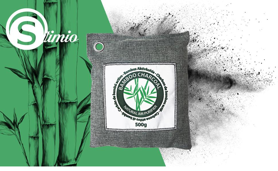 Stimio Purificador Natural de Aire. Carbón de bambú Activo (4x500g ...