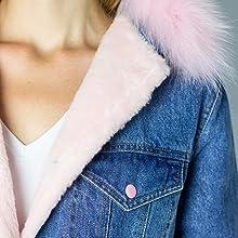 real fur on the collar denim jacket dasti