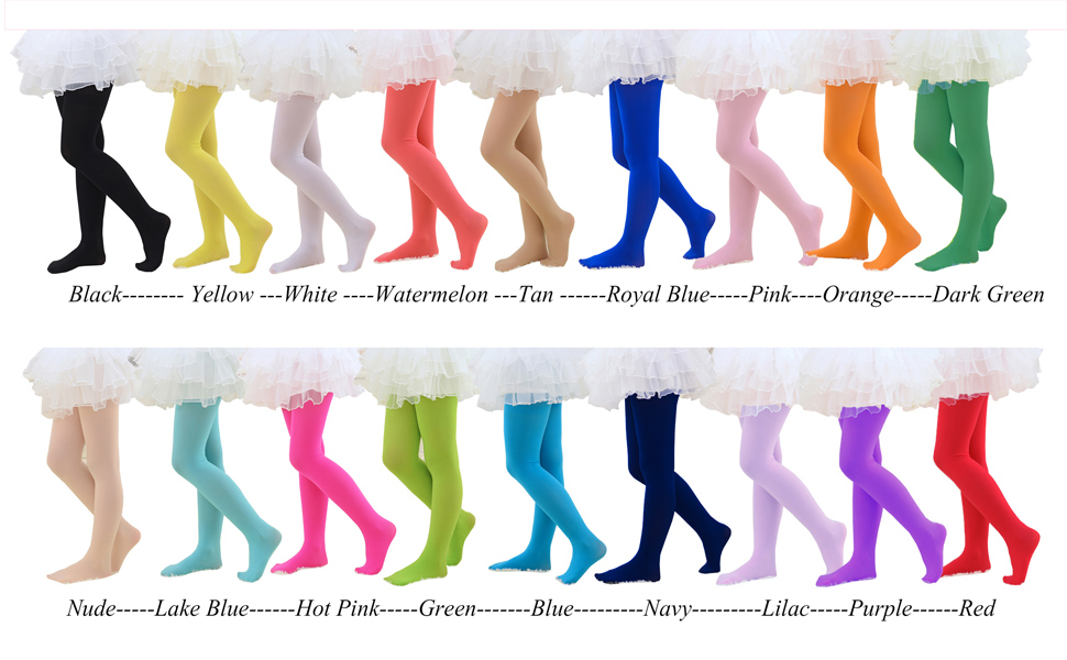 CHUNG Girls Light Weight Stretchy 60D Footed Tights Multi Candy Color Costumes Accessory Stage Performance 2-12Y