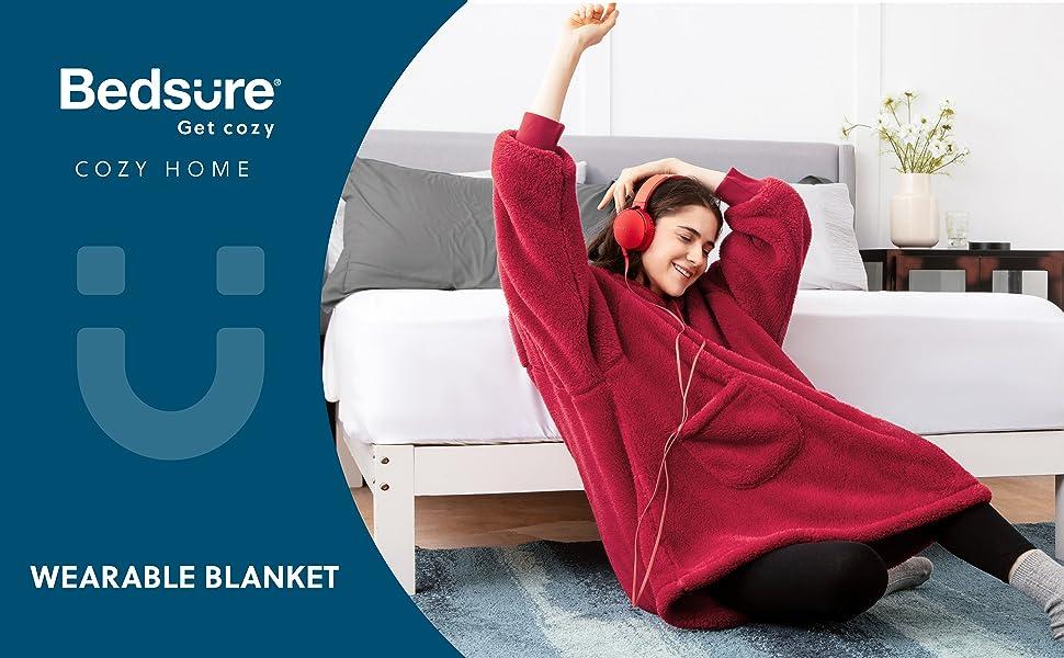 Bedsure Wearable Blanket,Velveteen Blanket Hoodie