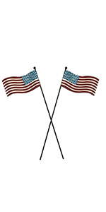 "2pcs Rustic Metal American Flag Stake Patriotic July 4th Decoration 12.75""H"