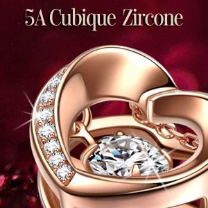 Zircon Cubique Incrust/é Alex Perry Cadeau de Noel Cha/îne de C/âble Or Rose//Argent Argent Sterling 925 Le S/érie de la Minimaliste Collier Pendentif Coeur pour Femmes