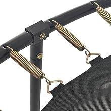 Ingehaakte trekveren op het zwarte frame en op het springdoek zonder randafdekking van bovenaf.