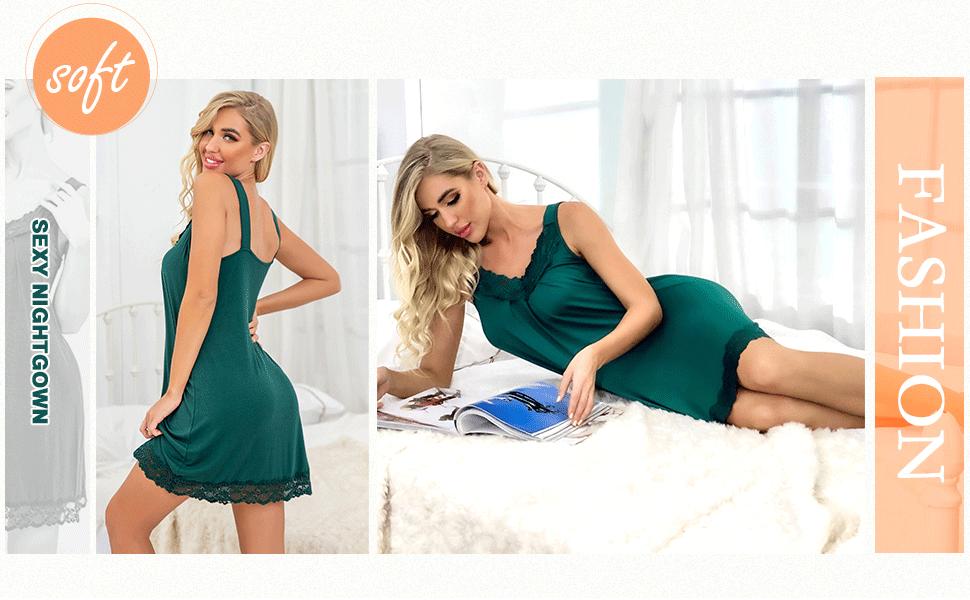 PrinStory Women's Loose Full Slips Lace Nightgown Chemise Sleepwear Cotton Jersey Lingerie