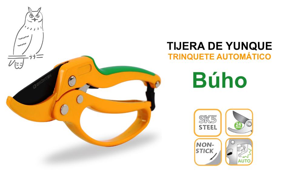 GRÜNTEK Tijera Recoletora de podar yunque con Trinquete. Cortarramas Profesional Búho 20.5 cm: Amazon.es: Bricolaje y herramientas