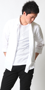 (リアルコンテンツ)REAL CONTENTS シャツ メンズ 7分袖 コットン リネン 綿麻 ボタン シャツ 刺繍 ワンポイント トップス 77-h662-rc