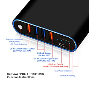 BatPower PDE 3 UL 75Wh USB-C Portable Charger laptop External Battery Power Bank