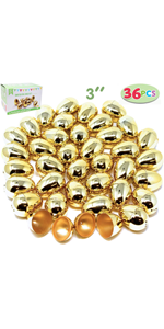 36 Pcs Shiny large Golden Metallic Easter Eggs