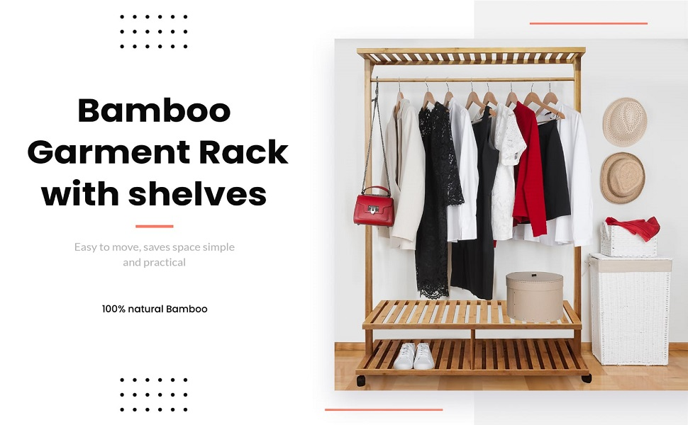 This is a Life style image of Clothes rack with clothes on the rack and shoe on the shoe rack