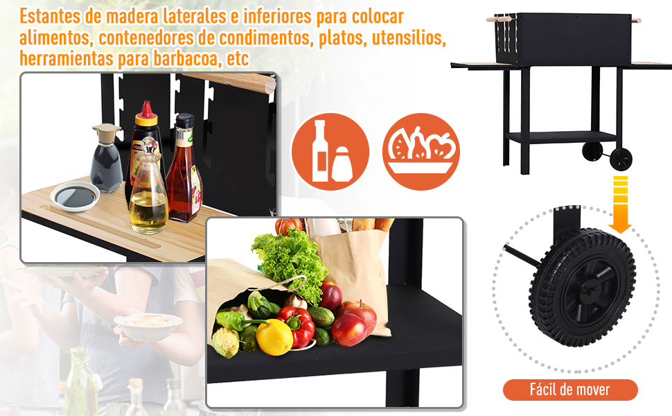 Outsunny Barbacoa de Carbón BBQ Vegetal Altura de Parrillas Ajustables Parrillas Asador de Jardín Exterior con Ruedas 138x52.5x101cm