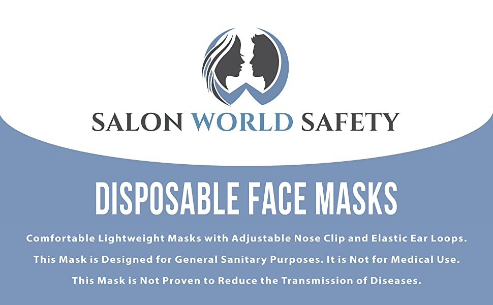 Salon World Safety Disposable Safety Face Mask with Nose Clip & Ear Loops Colored Black Aqua & Pink