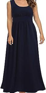 casual plus size floor length sleeveless dress
