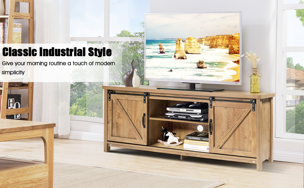 wood tv stand barn doors