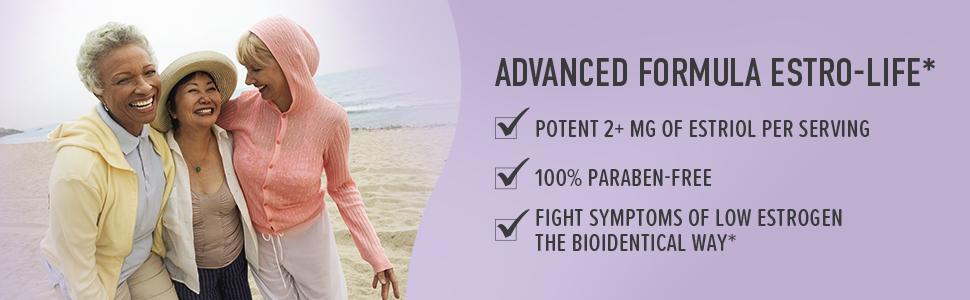 potent 2+ mg of estriol per serving 100% paraben-free fight symptoms of low estrogen the biodentical