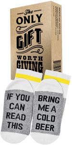 """Comfort Cotton Socks + Gift Box """"If you can read this bring me a cold Beer"""" Perfect Gift"""
