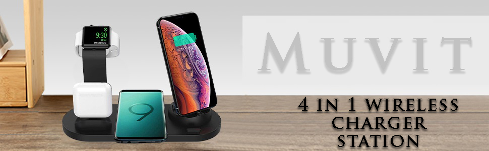 4 in 1 wireless charger Black
