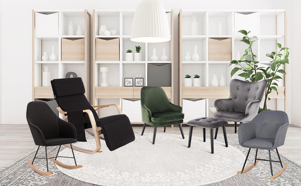 WOLTU SKS20dgn Fauteuil /à Oreilles en Velours Fauteuil TV Fauteuil Relaxant Chaise de Loisirs en Bois Massif,Vert Fonc/é