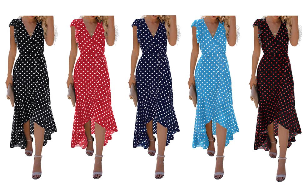 *GRECERELLE Women's Summer Floral Print Cross V Neck Dress Bohemian Flowy Long Maxi Dresses