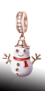 Rose Gold Happy Snowman Pendant Charms fits Pandora Christmas Bracelet Necklace