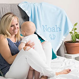 mom and baby with blue blanket customized with name