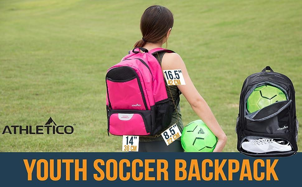 Youth Kid Soccer Backpack Pink Black Blue Separate Shoe Cleat Pocket