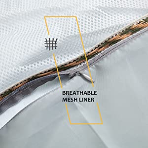 breathable mesh liner