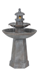 Sunnydaze 2-Tiered Pagoda Outdoor Water Fountain with LED Light