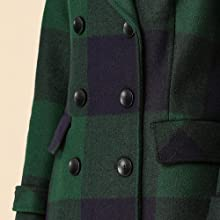 Women's Notched Lapel Double Breasted Winter Plaids Coat Navy Blue Green