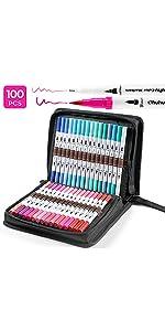 Dual Tips Coloring Brush Fineliner Color Marker Pens