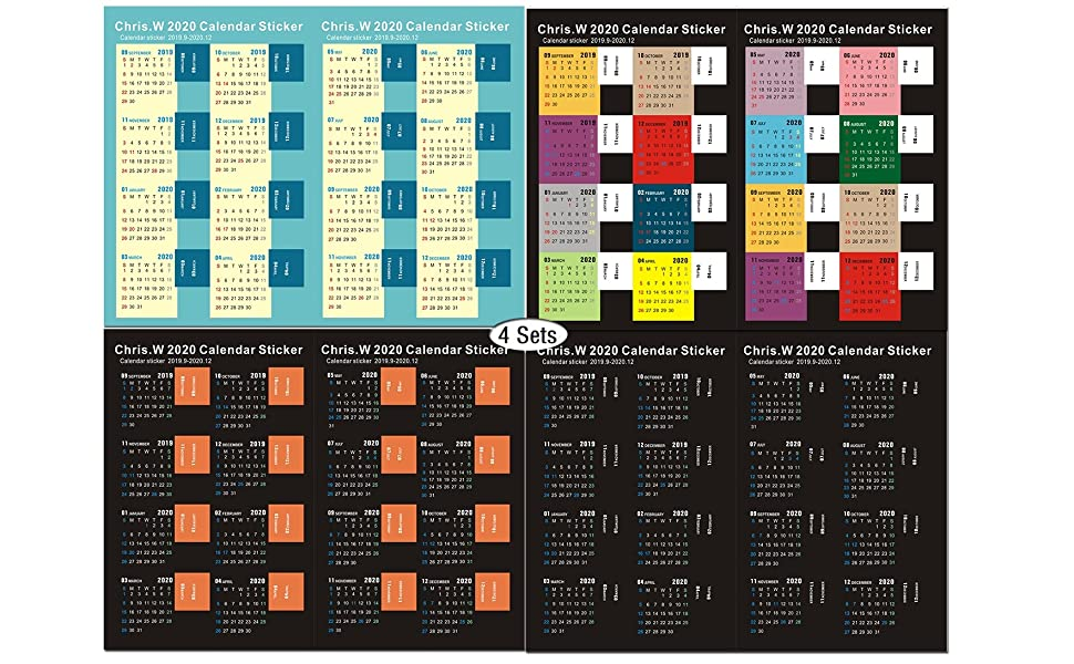 Chris.W 2020 Calendar Stickers Month Tabs for Planner, Bulleting Notebook, Journal, Monthly Index Tabs, 2019.9-2020.12(4 Sets)