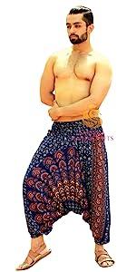 Blue Mandala Rayon Harem Pants