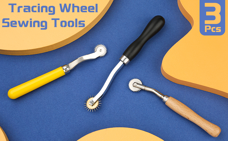 Professional Stitch Marking Spacer 3 Pcs Tracing Wheel Sewing Tool Random Color Tracing Wheel Sewing Tool Stitching Wheel Tool for Leathercraft Needle Point Tracing Wheel