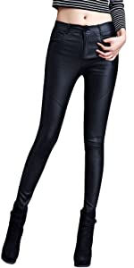 Womens Faux Leather Leggings Stretch Pants with 4 Pockets