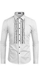 COOFANDY Men's Tuxedo Shirt