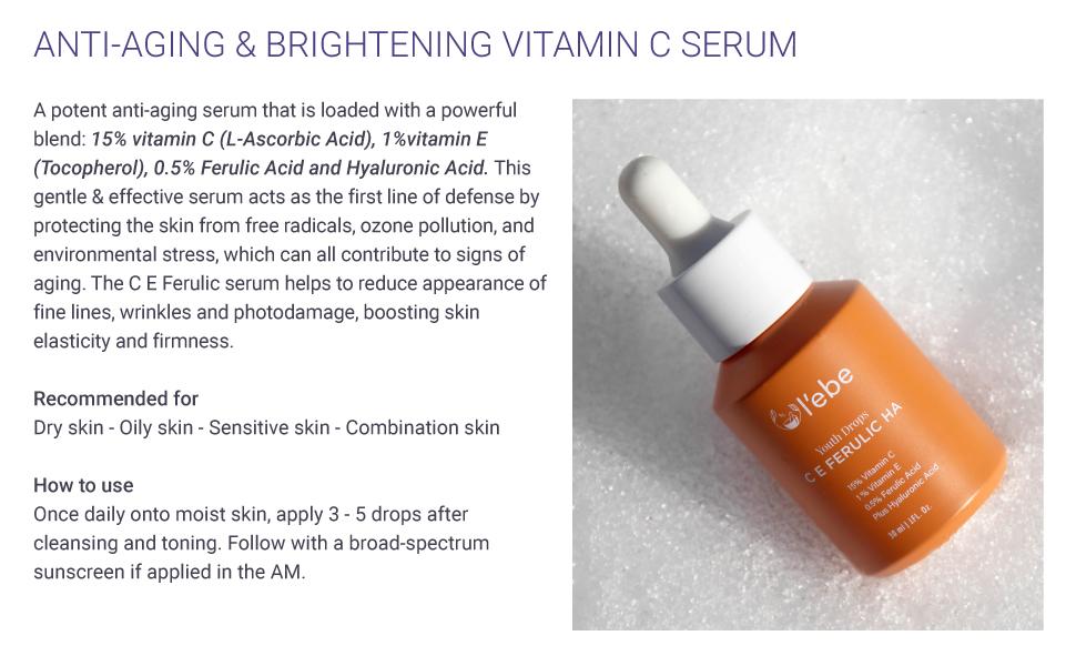 vitaminC serum anti aging antioxidant brightening skin