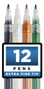 Metallic Paint Pens for Rock Painting, Stone, Ceramic, Glass, Wood, Fabric, Scrapbook Journals,