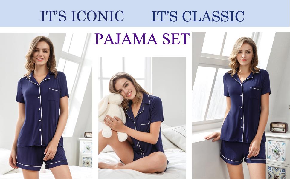 Winsummer Womens Cotton Pajama Short Sleeve Sleepwear Soft Pj Set Top and Shorts Pajamas Set Lounge Sleep Nightwear
