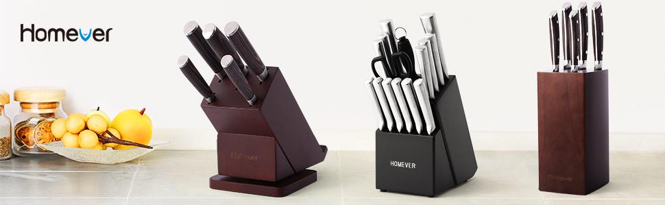 HOMEVER Couteau de Cuisines, 16 Pièces Set Couteaux de Cuisine en Acier Inoxydable avec Bloc en Bois, Ensemble de Couteaux, Couteaux de Chef avec Porte, Bloc de Couteaux pour la Cuisine