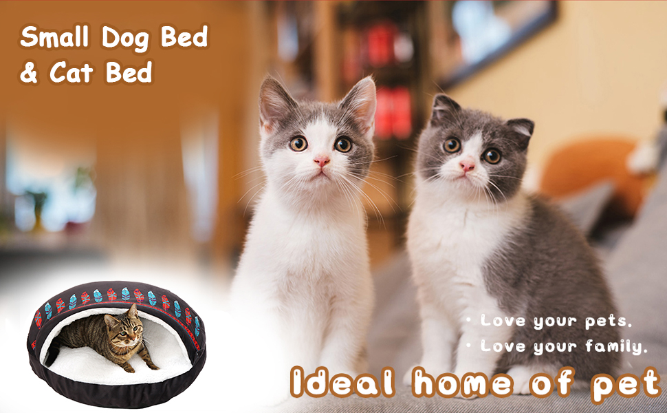 Small Dog Bed & Cat Bed - Cat Beds for Indoor Cats Cave, Washable Super Soft Covered Pet Bed
