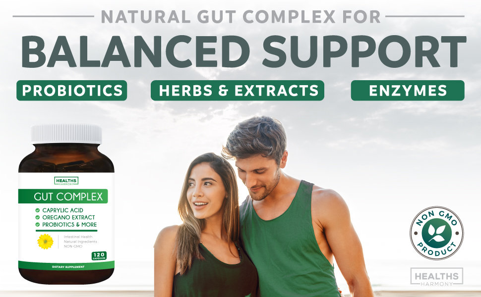Gut support with Probiotics, ezymes, herbs and extracts - non gmo intestinal support supplement