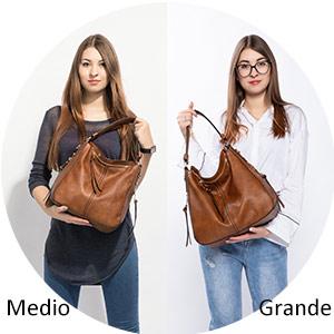 Grande Medio bolso hobo mujer polipiel bandolera sintetico bolsos para mujeres jóvenes Negro marron