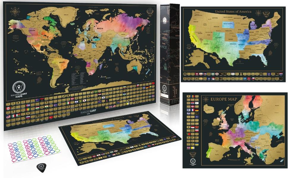 W WANDERLUST MAPS Paquete definitivo de Mapa de rascar (Acuarela Mapa del Mundo, de los EE. UU. y de Europa) | 3 mapas de rascar Juego Completo de Accesorios y Banderas de