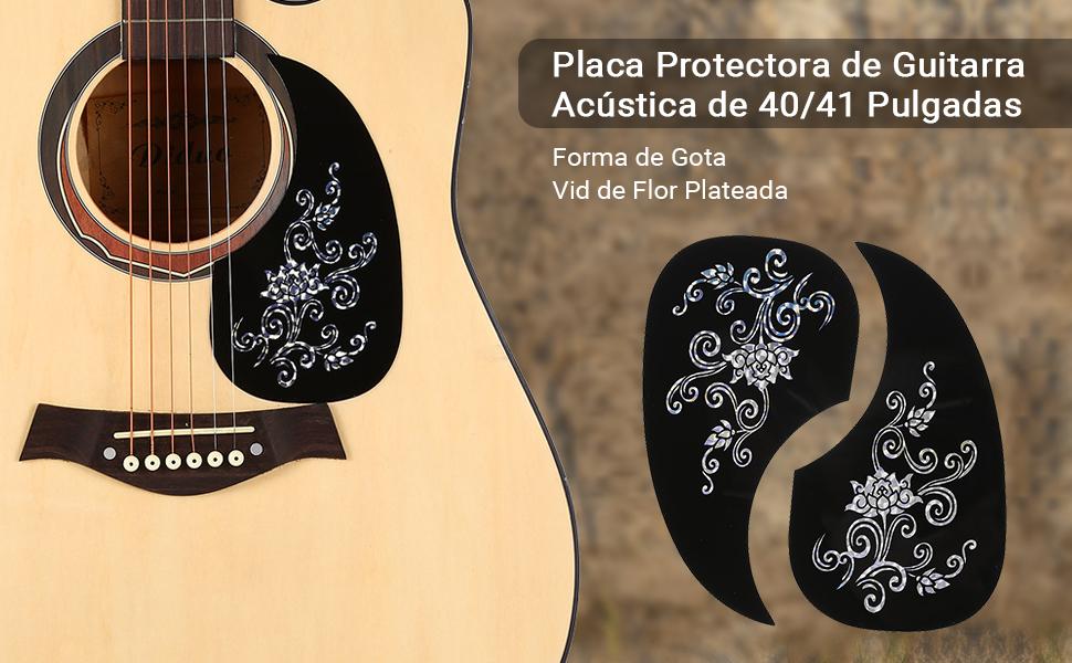 2 piezas de púas para guitarra, autoadhensivo en forma de coma, protector de púa para guitarra acústica (plata): Amazon.es: Instrumentos musicales